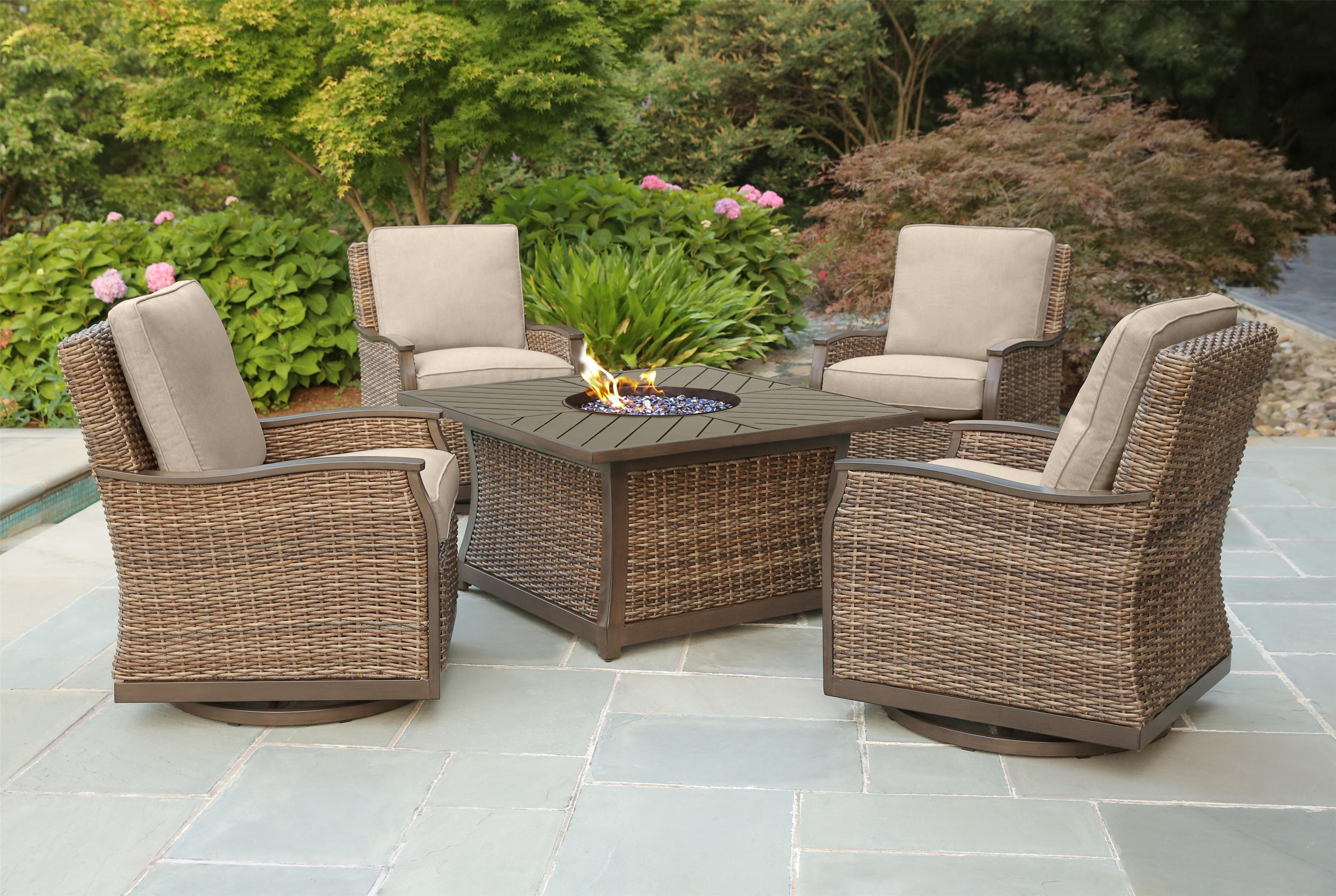 Trenton Firepit and 4 Swivel Gliders by Apricity Outdoor at Johnny Janosik