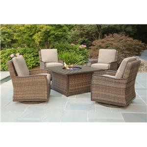 Firepit and 4 Swivel Gliders