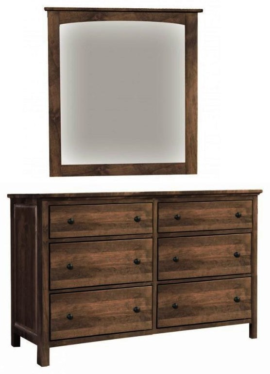 Alder Heritage 6 Drawer Double Dresser with Mirror by Archbold Furniture at Johnny Janosik