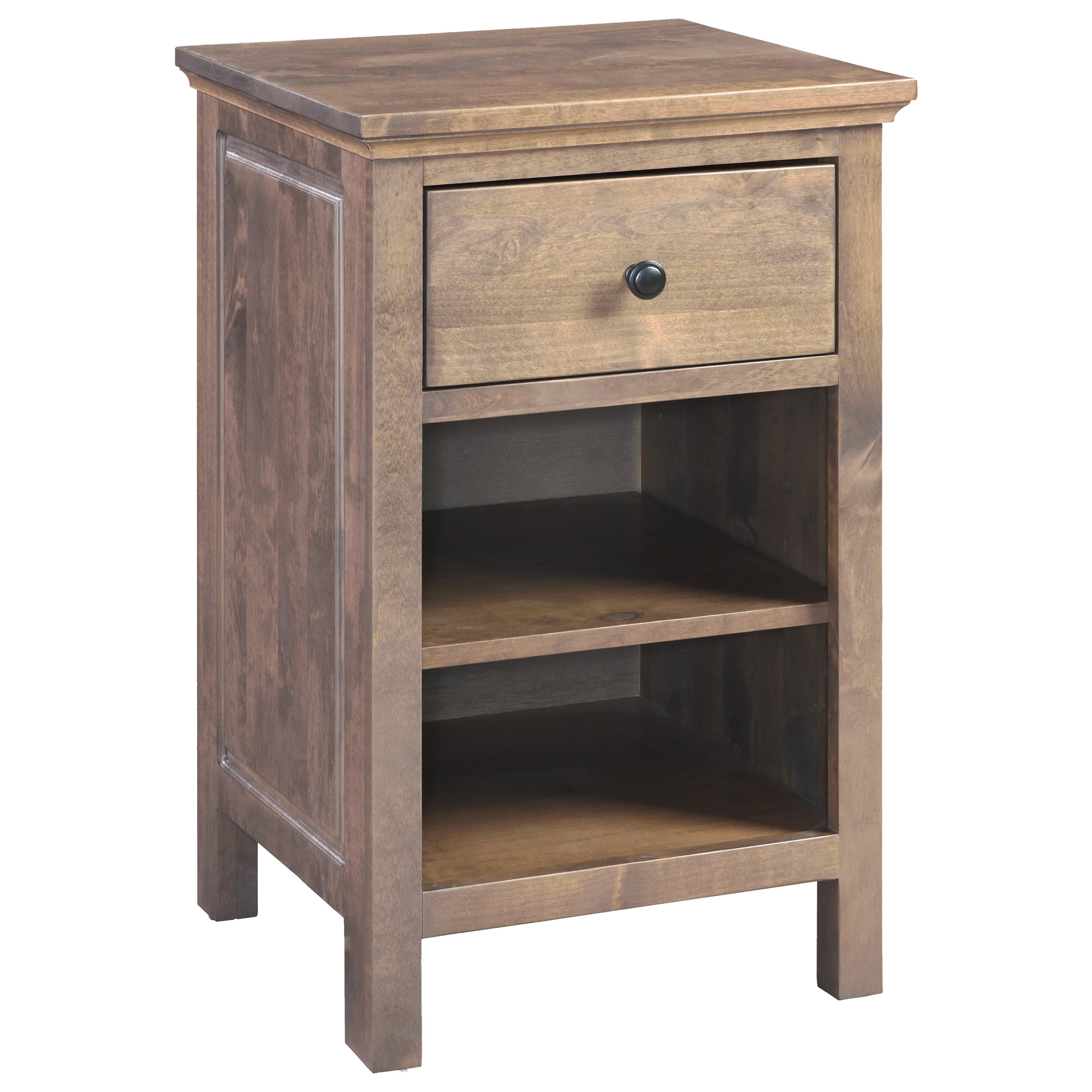 Alder Heritage 1-Drawer Night Stand by Archbold Furniture at Furniture and ApplianceMart