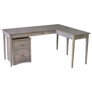 Solid Wood 1 Drawer Writing Desk with Return
