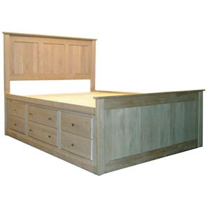 Queen Flat Panel Chest Bed with 12 Drawers