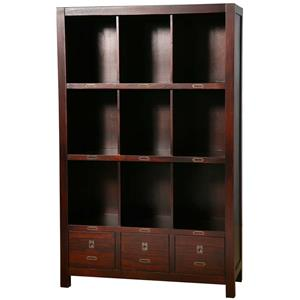 Solid Wood Bookcase with 9 Shelf Compartments