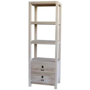 Solid Wood Etagere with 2 Bottom Drawers