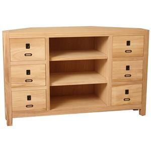 Solid Wood Corner Console with 6 Drawers