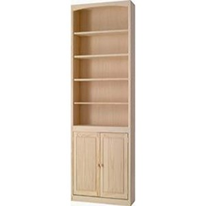 Solid Pine Bookcase with Door Kit and 4 Open Shelves
