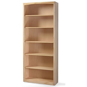 Solid Pine Bookcase with 5 Open Shelves