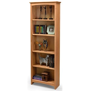 Solid Wood Alder Bookcase with 4 Open Shelves