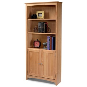 Solid Wood Alder Bookcase with Doors and 2 Shelves