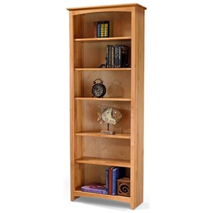 Solid Wood Alder Bookcase with 5 Open Shelves