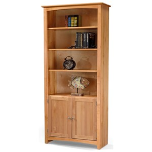Solid Wood Alder Bookcase with Doors and 3 Shelves