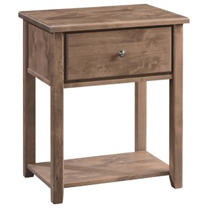 Solid Wood 1-Drawer Nightstand