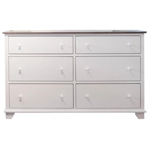 6 Drawer Dresser in 2 Tone Finish