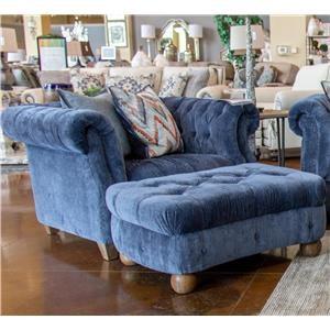Aria Designs Kendall Blue Velvet Chair & Ottoman