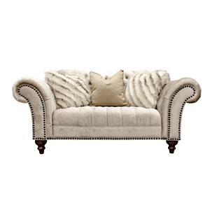 Sand Paisley Tufted Loveseat with Nailhead Trim