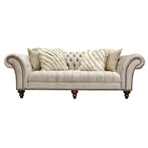 Sand Paisley Tufted Sofa with Nailhead Trim