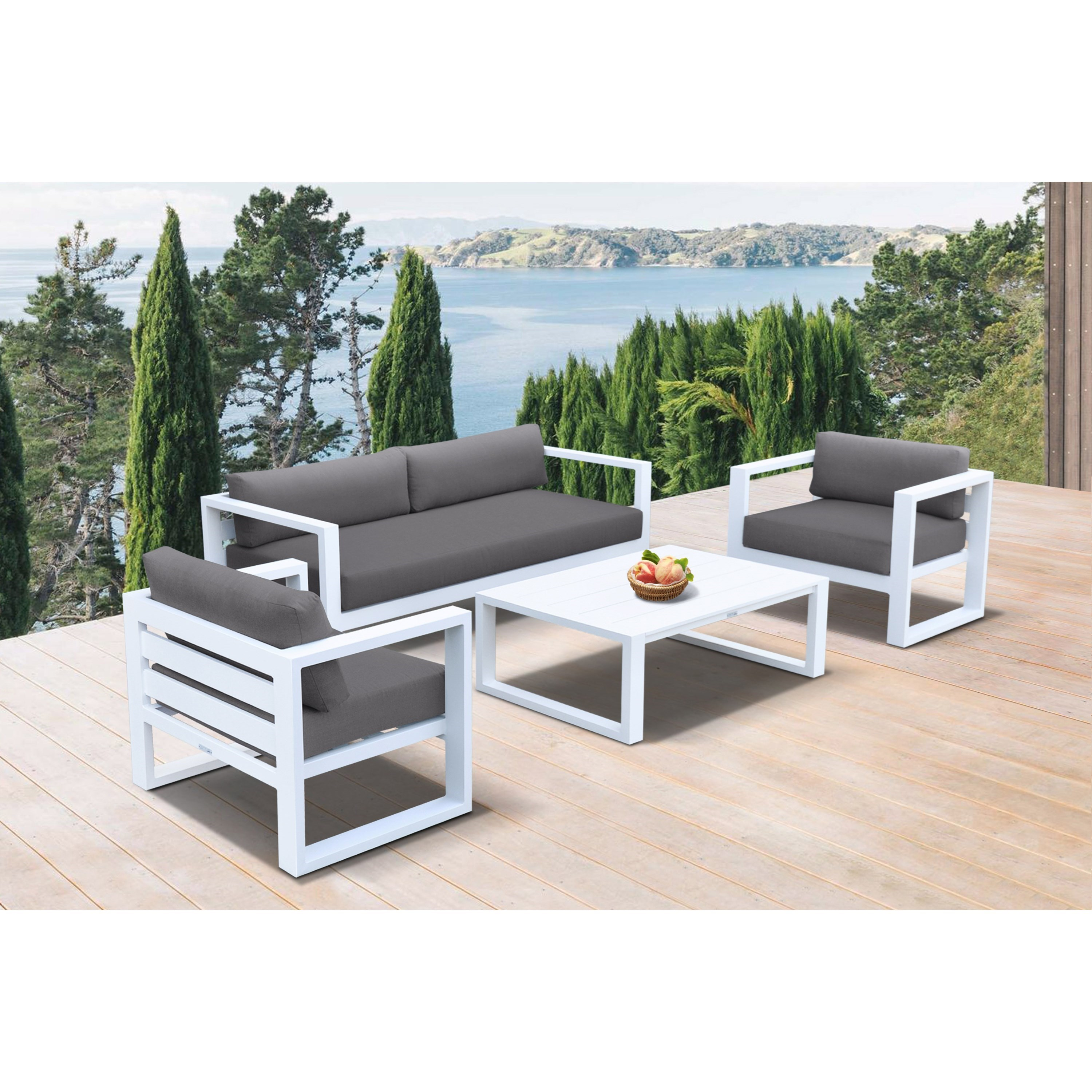 Aegan Outdoor 4-Piece Set by Armen Living at Fisher Home Furnishings