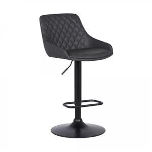 Adjustable Black Barstool with Faux Leather Upholstered Seats
