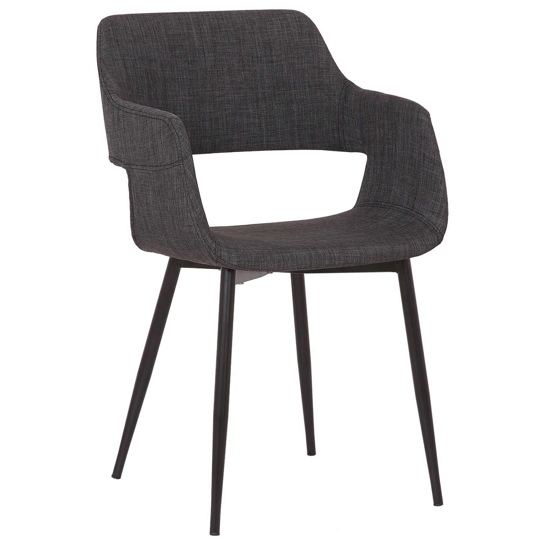 Ariana Mid-Century Charcoal Open Back Dining Chair by Armen Living at Fisher Home Furnishings