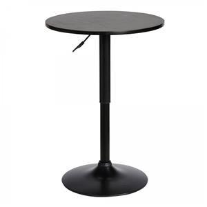 3 Piece Adjustable Pub Table with Black Metal Base and 2 Adjustable Black Barstools Faux Leather Seats and Black Backs Set