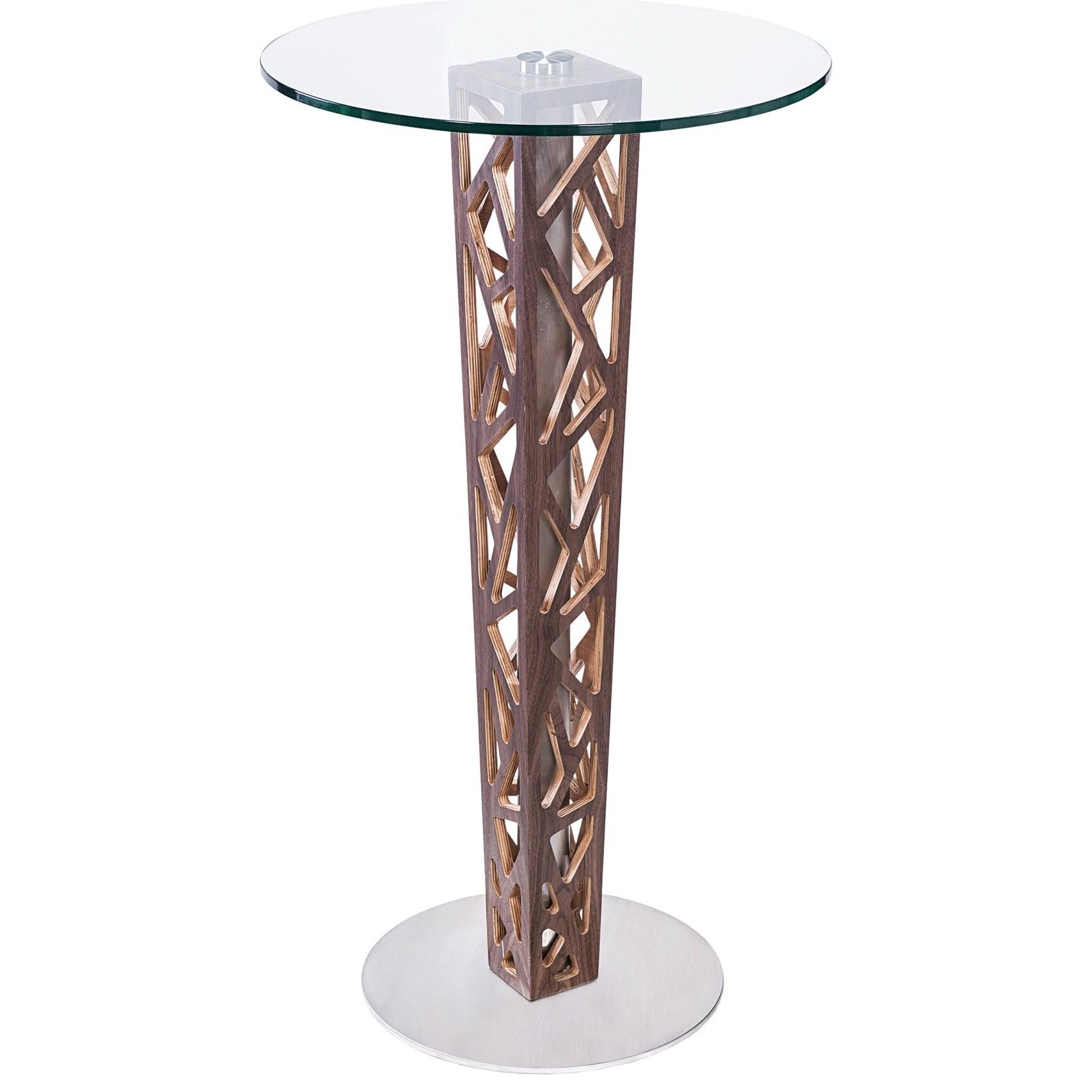 Crystal Bar Table with Walnut Veneer Column at Sadler's Home Furnishings