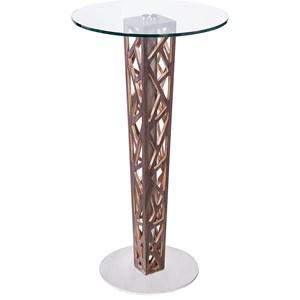 Bar Table with Walnut Veneer Column