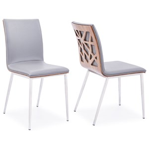 Dining Chair in Brushed Stainless - Set of 2