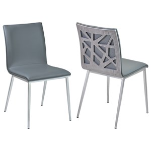 Dining Chair in Gray Faux Leather - Set of 2