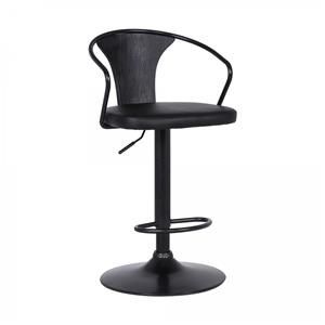 Adjustable Black Barstool with Faux Leather Seat and Brushed Black Wood Back