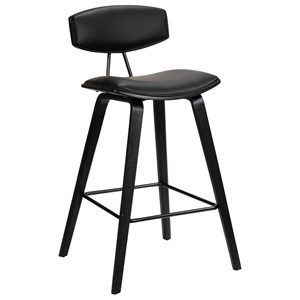 "26"" Mid-Century Counter Height Barstool in Black Faux Leather with Black Brushed Wood"