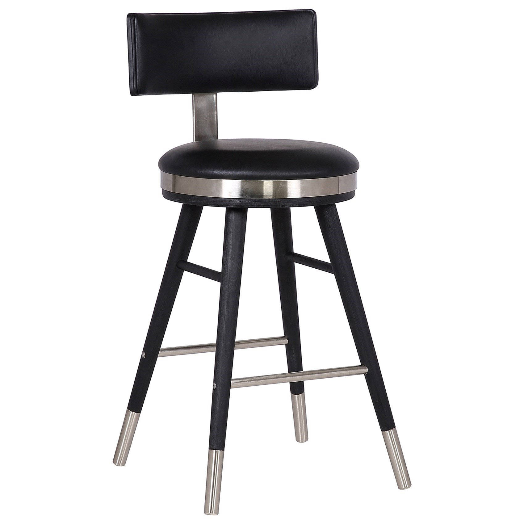 "Grace Modern 26"" Black Faux Leather Bar Stool by Armen Living at Michael Alan Furniture & Design"