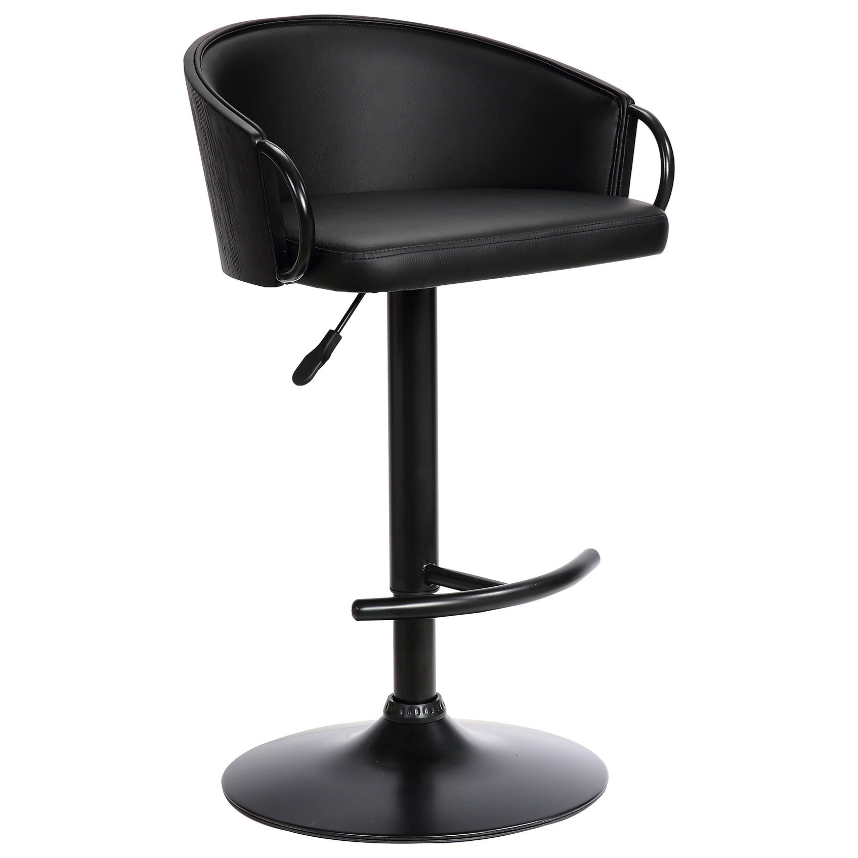 Montego Adj. Black Faux Leather Swivel Barstool at Sadler's Home Furnishings