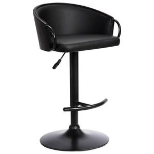 Adj. Black Faux Leather Swivel Barstool