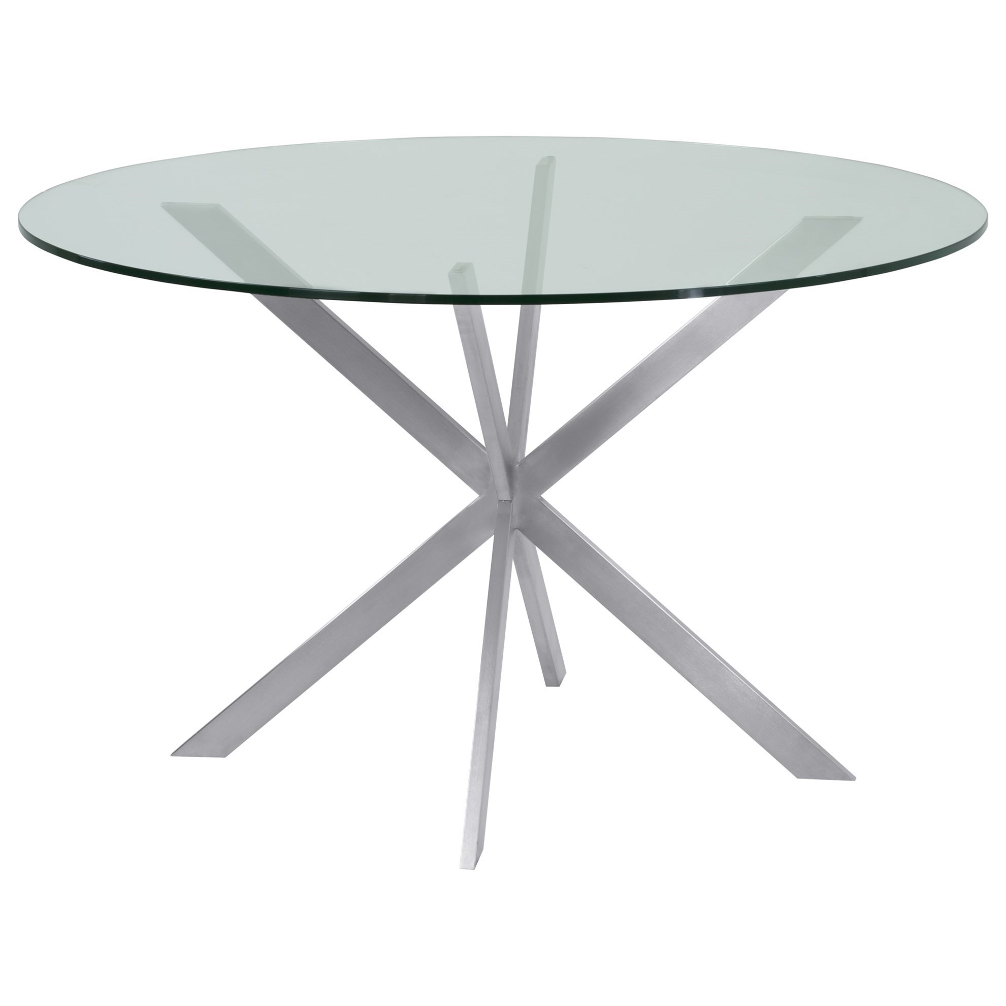 Mystere Brushed Stainless & Clear Dining Table  at Sadler's Home Furnishings