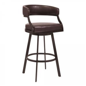 """30"""" Bar Height Barstool in Auburn Bay and Brown Faux Leather"""