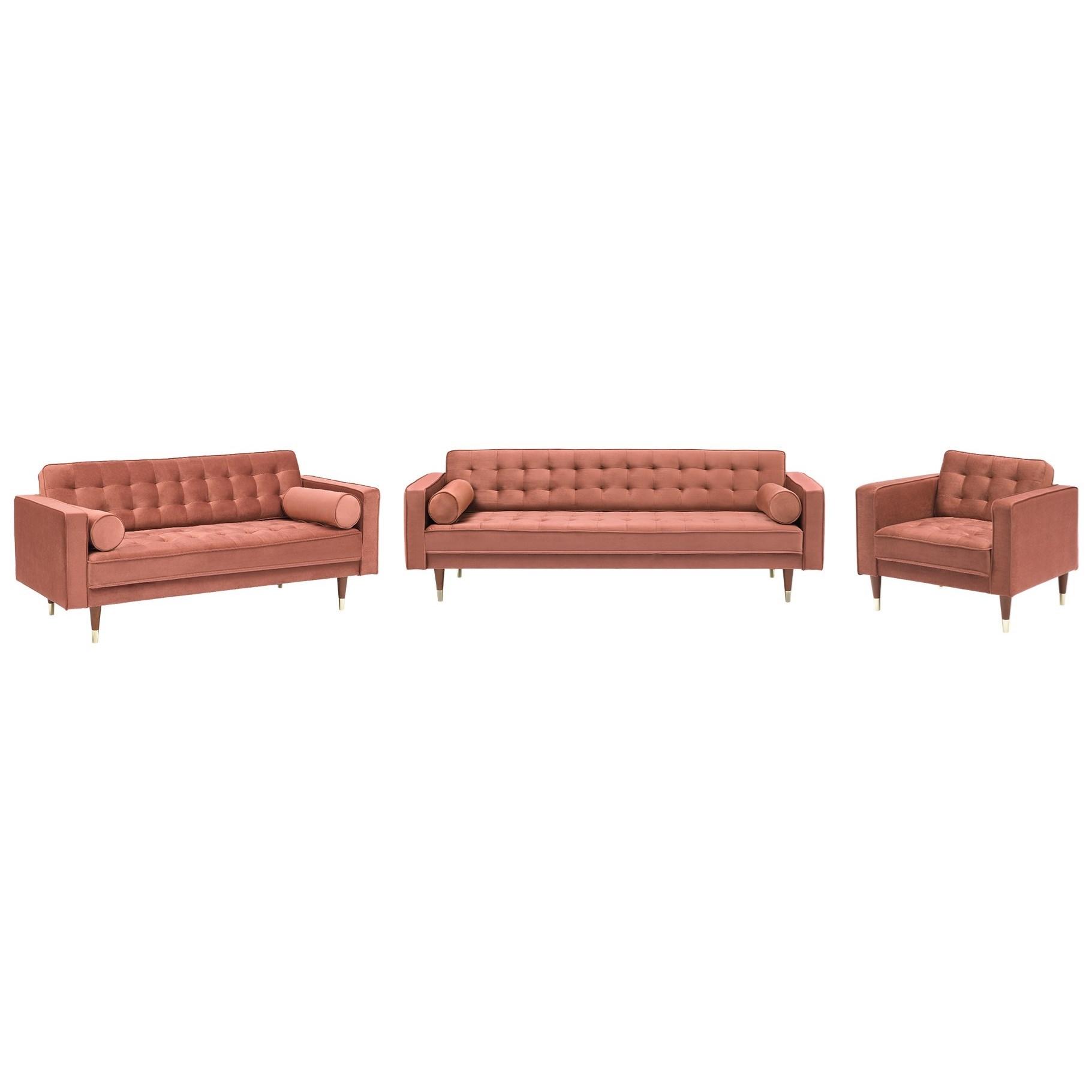Somerset Velvet Mid Century Modern Sofa Set at Sadler's Home Furnishings