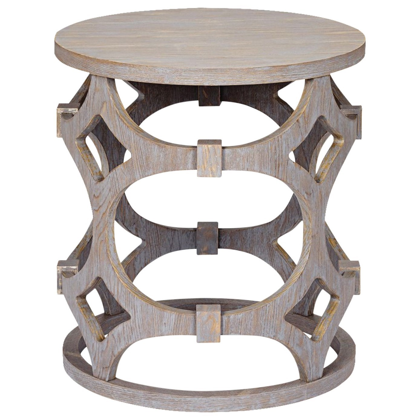 Tuxedo  Tuxedo Round End Table with Gray Finish and by Armen Living at Michael Alan Furniture & Design