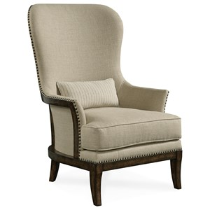 Exposed Wood-Back Accent Chair in Arroyo Finish
