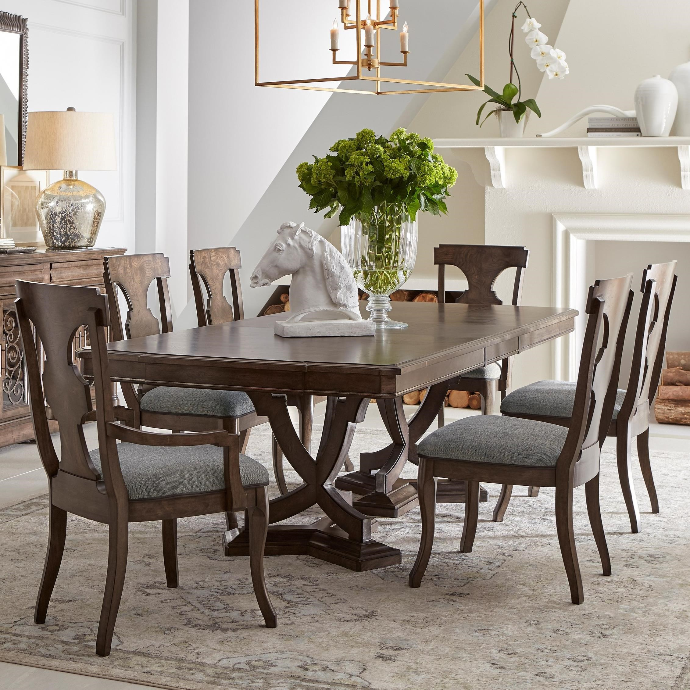 Landmark 7-Piece Double Pedestal Table and Chair Set by Klien Furniture at Sprintz Furniture