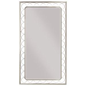 Floor Mirror with Metallic Lattice Frame