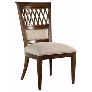 Transitional Side Chair with Nailhead Trim and Carved Back