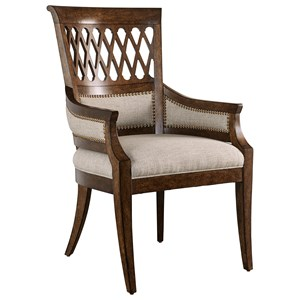 Transitional Arm Chair with Nailhead Trim and Carved Back