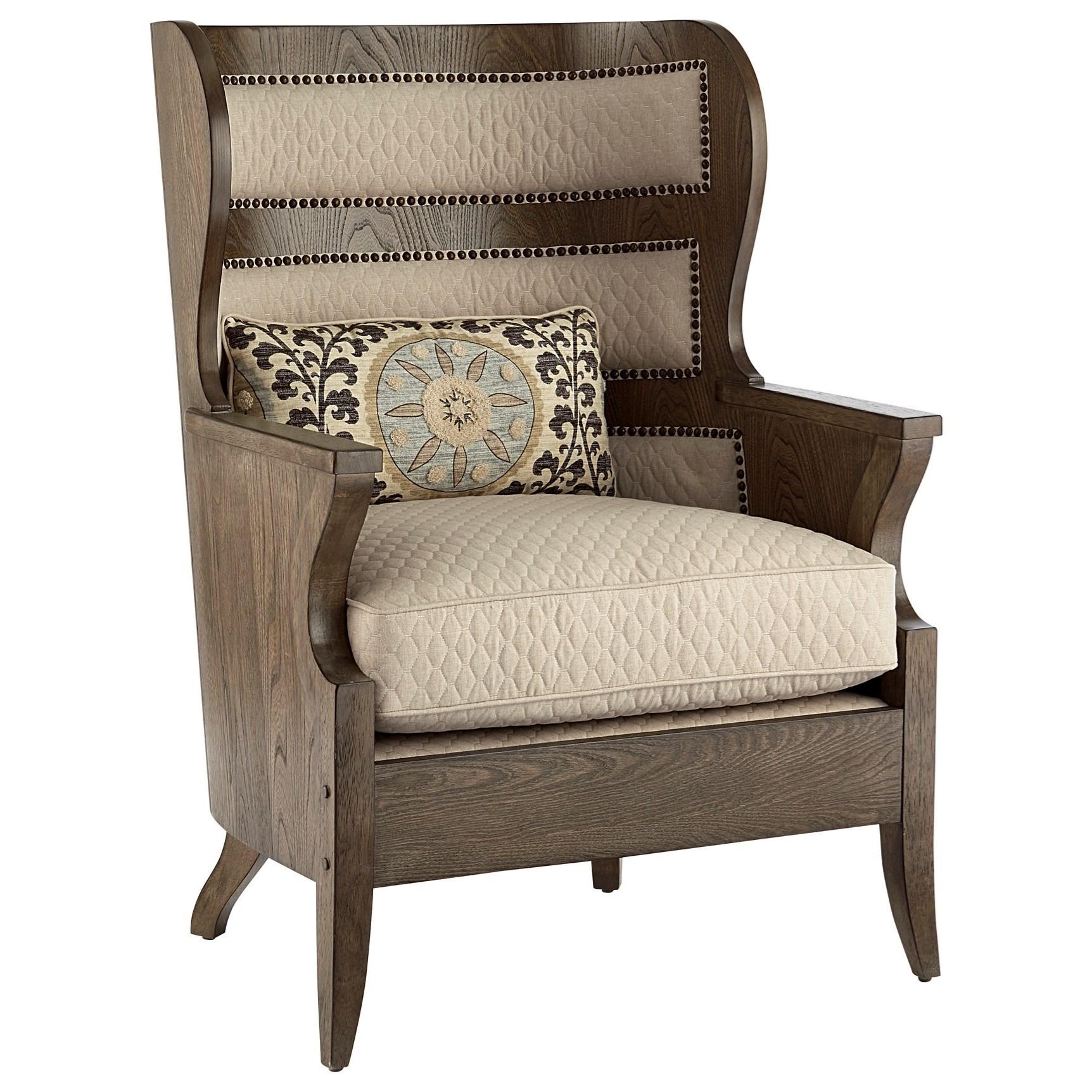 Vintage Salvage Upholstery Exposed Wood Wing Chair by Klien Furniture at Sprintz Furniture