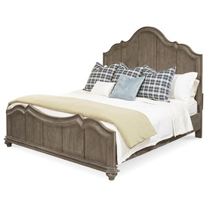 Solid Pine Queen Panel Bed in Weathered Gray Finish