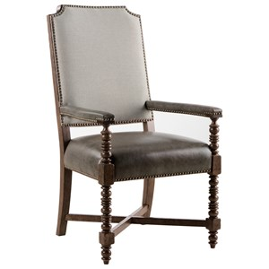 Distiller's Upholstered Back Arm Chair with Top-Grain Leather Seat
