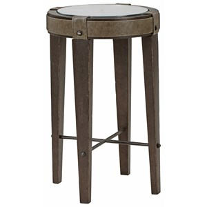 Bourbon Boutique Spot Table with Leather Accents