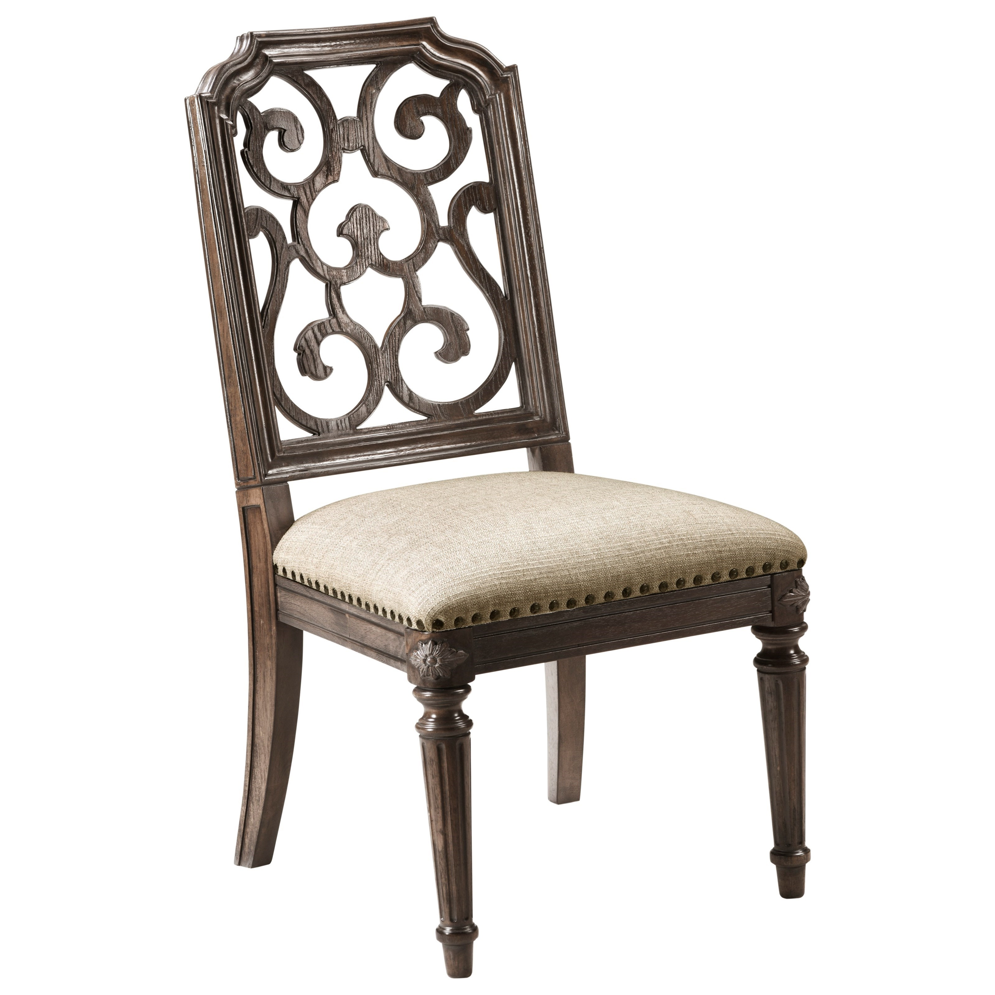 Vintage Salvage  Tristan Fret Back Side Chair  by A.R.T. Furniture Inc at Home Collections Furniture