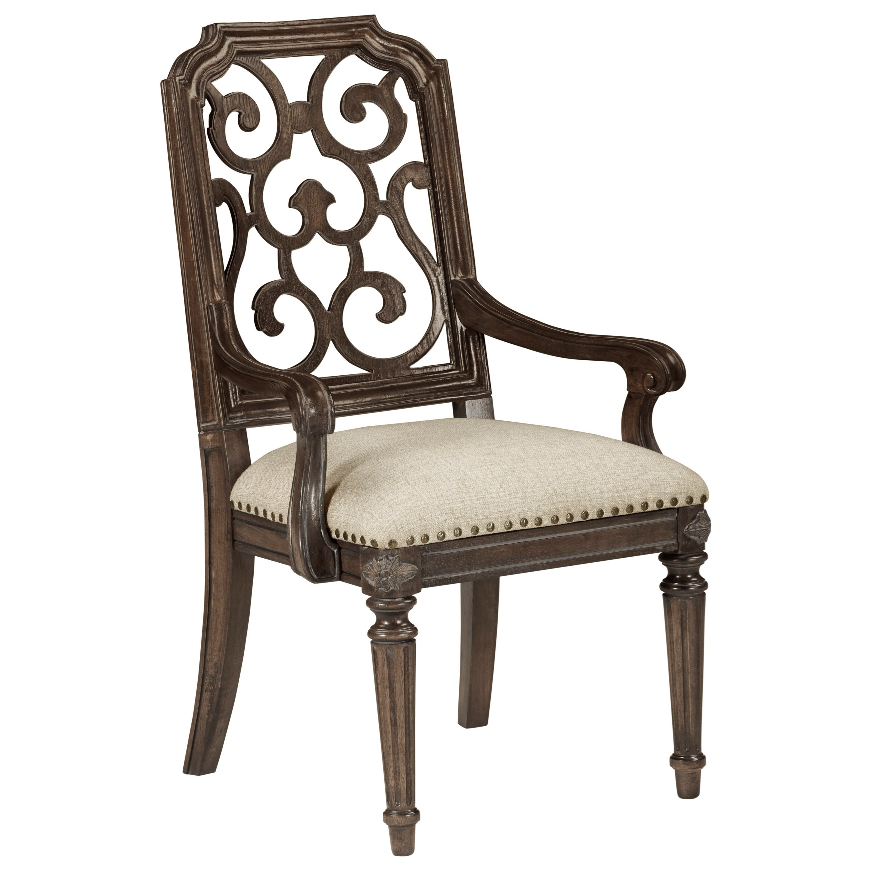 Vintage Salvage  Tristan Fret Back Arm Chair  by A.R.T. Furniture Inc at Home Collections Furniture