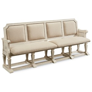 Becket Dining Bench with Carved Wood Frame
