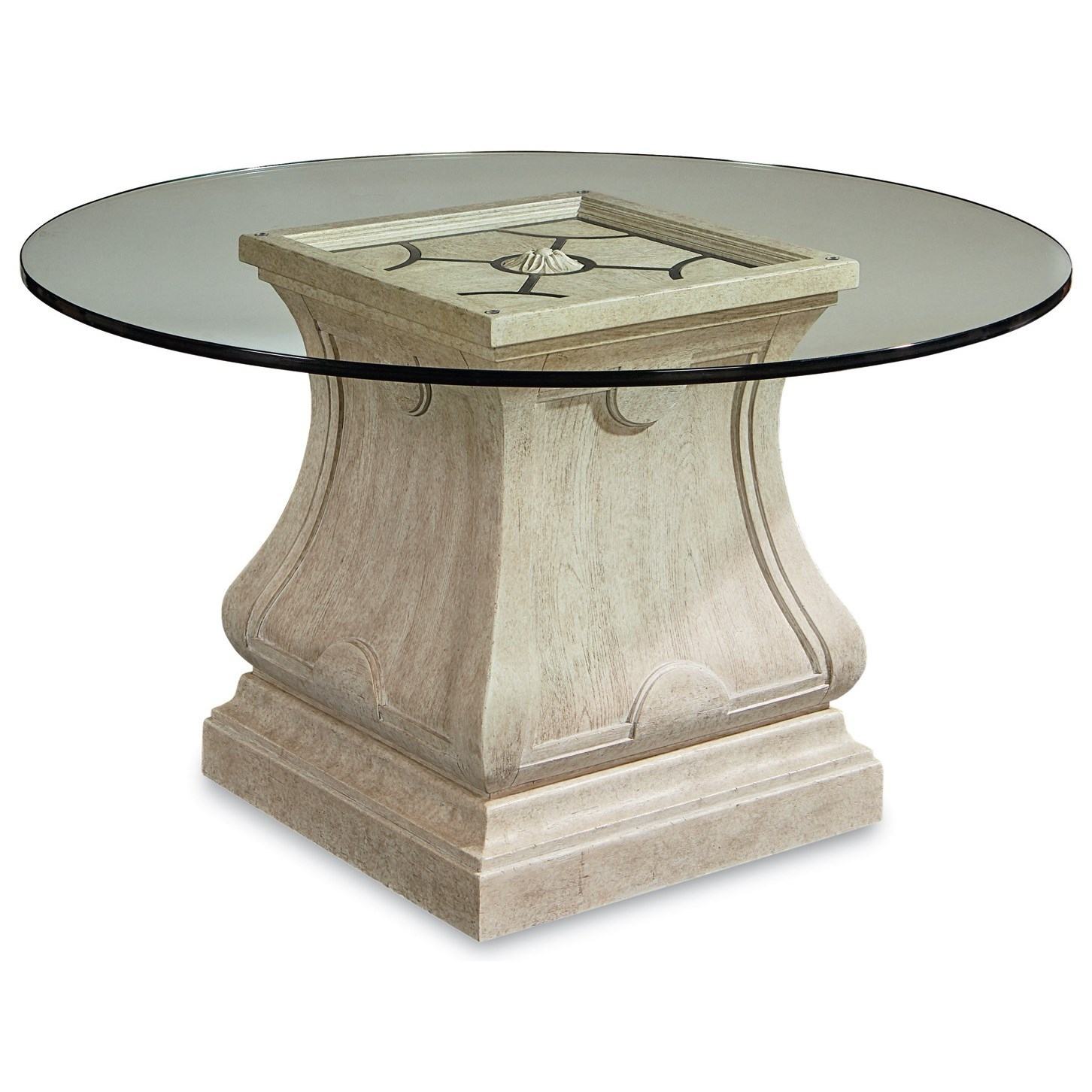 """Arch Salvage Leoni Round Dining Table with 54"""" Glass Top  by A.R.T. Furniture Inc at Baer's Furniture"""
